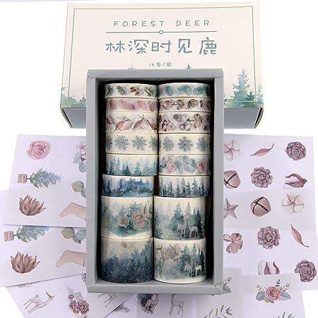 forest cervo 16 rotoli Nastro adesivo Washi Watercolor foresta con cervi e cervi per album fotografici