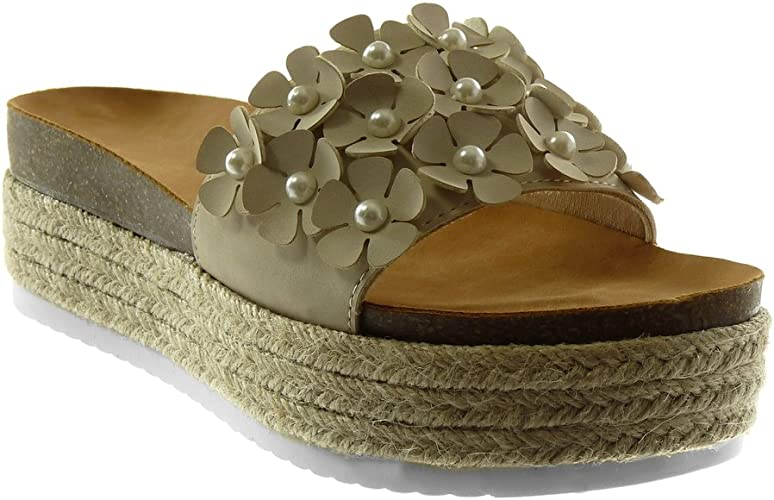 Angkorly Chaussure Mode Mule Sandale Slip on Plateforme Femme Fleurs Perle Corde Talon compensé Plateforme 6 CM