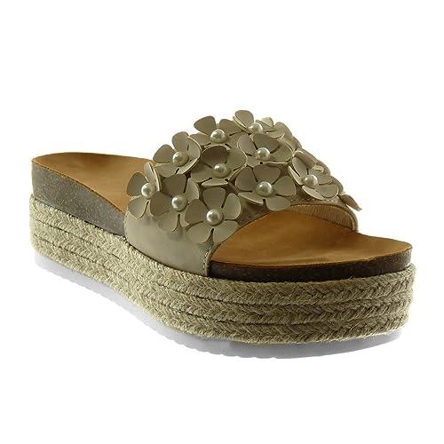 Angkorly - Scarpe Moda Mules Sandali Slip-on Zeppe Donna Fiori Perla Corda  Tacco Zeppa 7a3c6cec8fb