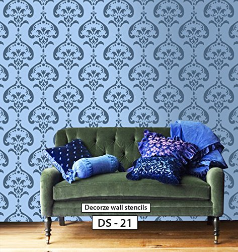 Damask Wall Stencil Design Ds 21 Buy Online In Uae