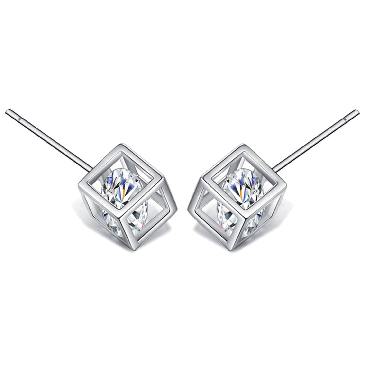 18K White Gold Plated Sterling Silver Earrings Fine Jewelry Weave Star Stud Earring xo7meK2K