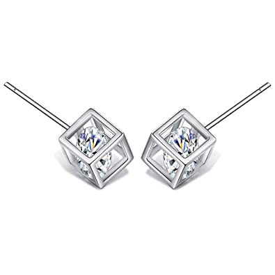 Costume Jewellery Professional Sale 0.4cm Diamante Silver Plated Stud Earrings 100% High Quality Materials