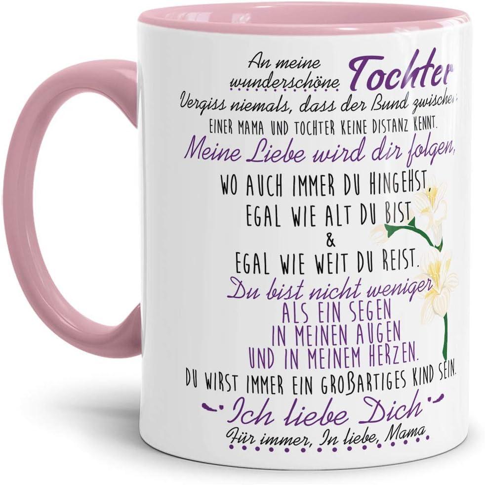Taza con Texto de la mamá para la Hija – Taza de café/Familia/Idea de Regalo/Mug/Cup/Interior & Asa Rosa