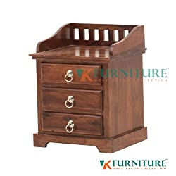 VK Furniture Sheesham Wood Bedside Table for Bedroom | Living Room | Wooden End Table | 3 Drawer Storage | Dark Brown