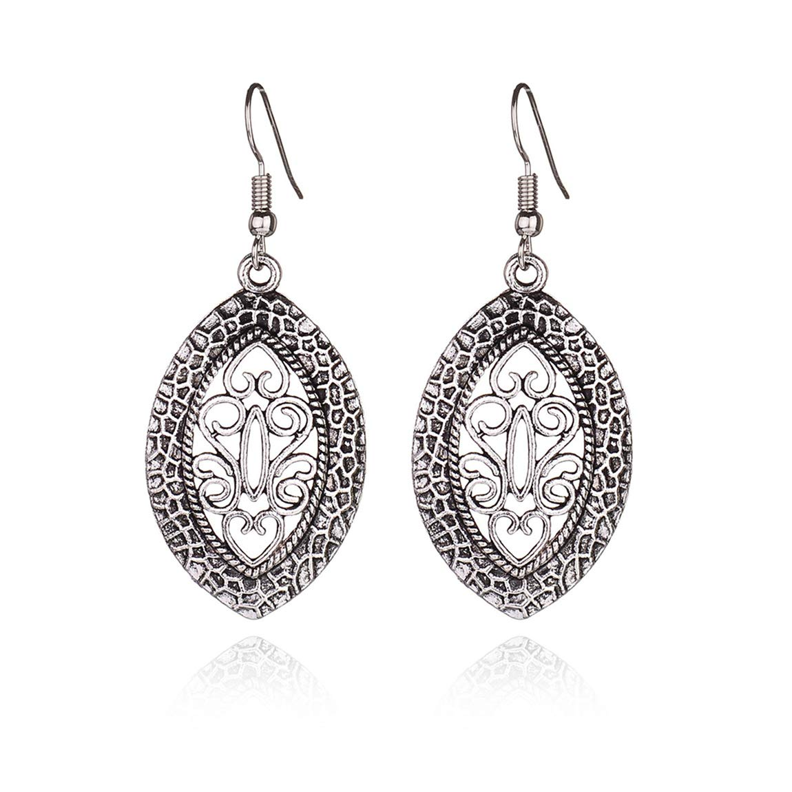 Weiy Bohemian Ethnic Style Hollow Carved Dangle Earrings Fashion Vintage Charming Stylish Sliver Drop Earrings Jewelry Gift For Women Girls