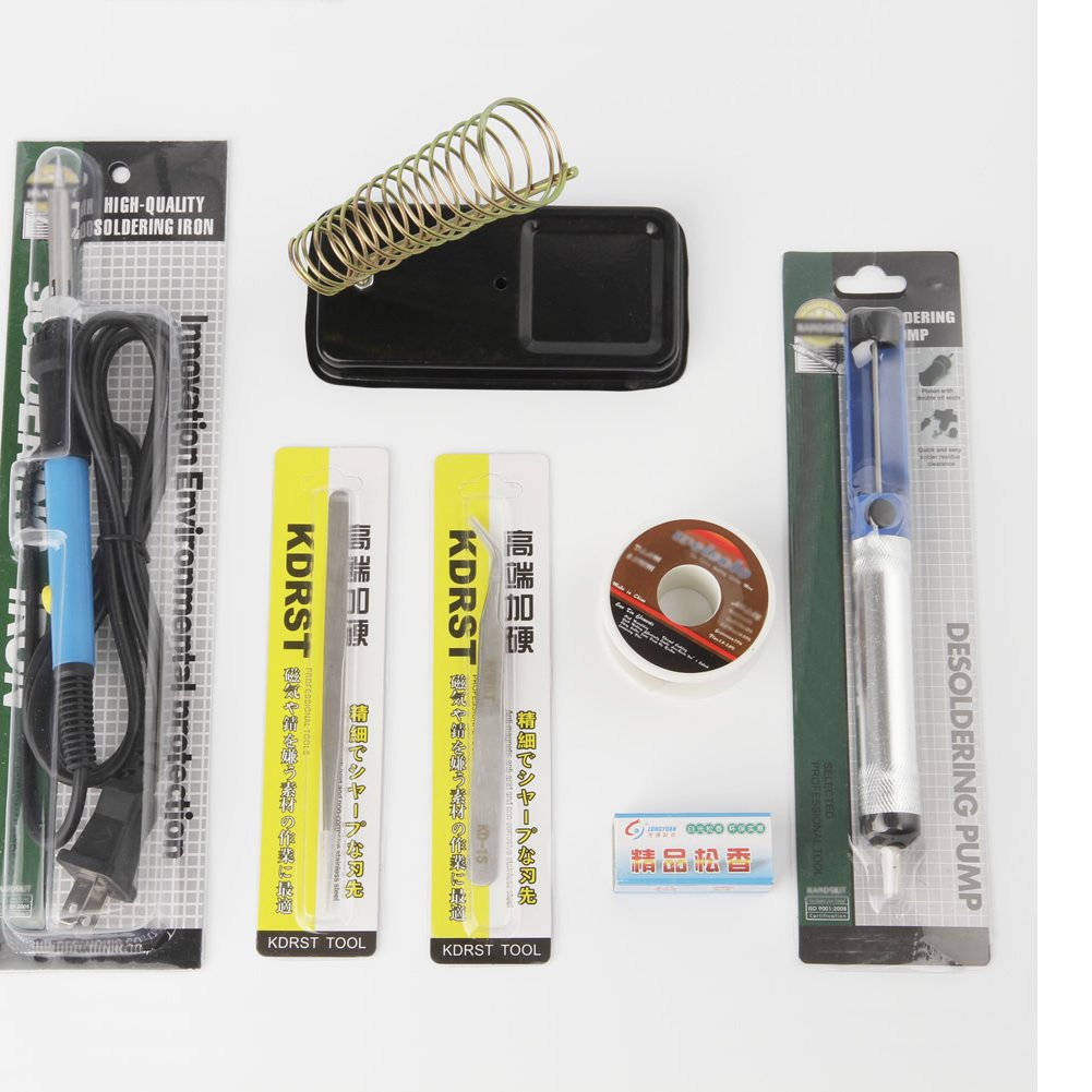Hygoo Soldering Iron Kit, 60W 110V Electric Soldering Iron with Adjustable Temperature, Desoldering Pump, Solder Wire, 2pcs Tweezers, Rosin and Stand for Variously Repaired Usage