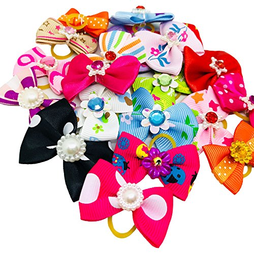 PET SHOW Pet Dog Hair Bows Bowknot Rhinestone Topknot with Rubber Bands Cat Puppy Headdress Grooming Dogs Hair Accessories Random color Pack of 30pcs (Bows Venetian)