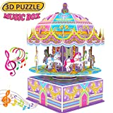 GBD 3D Carousel Puzzle for Kids,Whirligig Jigsaw Music Box DIY Building Model Brain Teasers Early Learning Educational Game for Kids Girls Boys Toys Birthday Summer Holiday Gifts-29 Pieces