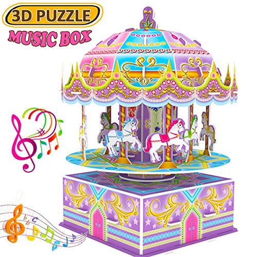 GBD 3D Carousel Puzzle for Kids,Whirligig Jigsaw Music Box DIY Building Model Early Learning Educational Toys Brain Teasers Girls Toys Teens Birthday Christmas Gifts-29 Pieces (Box 3d Puzzle)