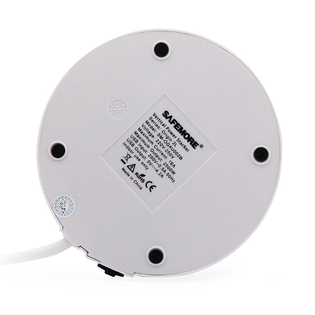 SAFEMORE Regleta, Enchufes Múltiples Base 4 USB, 6 Toma-Corrientes Europeo, 2500W/10A con Interruptor,Protección Sobretensión,Carga para Tablets y Otros ...