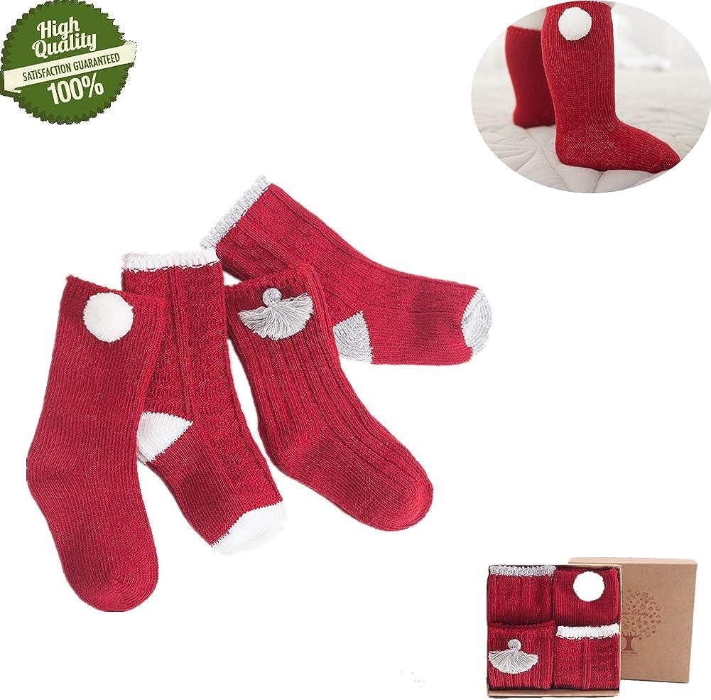 Morbuy Niñas Calcetines de Navidad, Cálido Niño Bebés Pequeños Sin ...