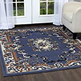 Home Dynamix Premium Astana Area Rug by Traditional Persian-Style Carpet | Classic Medallion Print Dining Room Rug | Timeless Home Décor | Blue, Cream, Brown 5'2'' x 7'4''