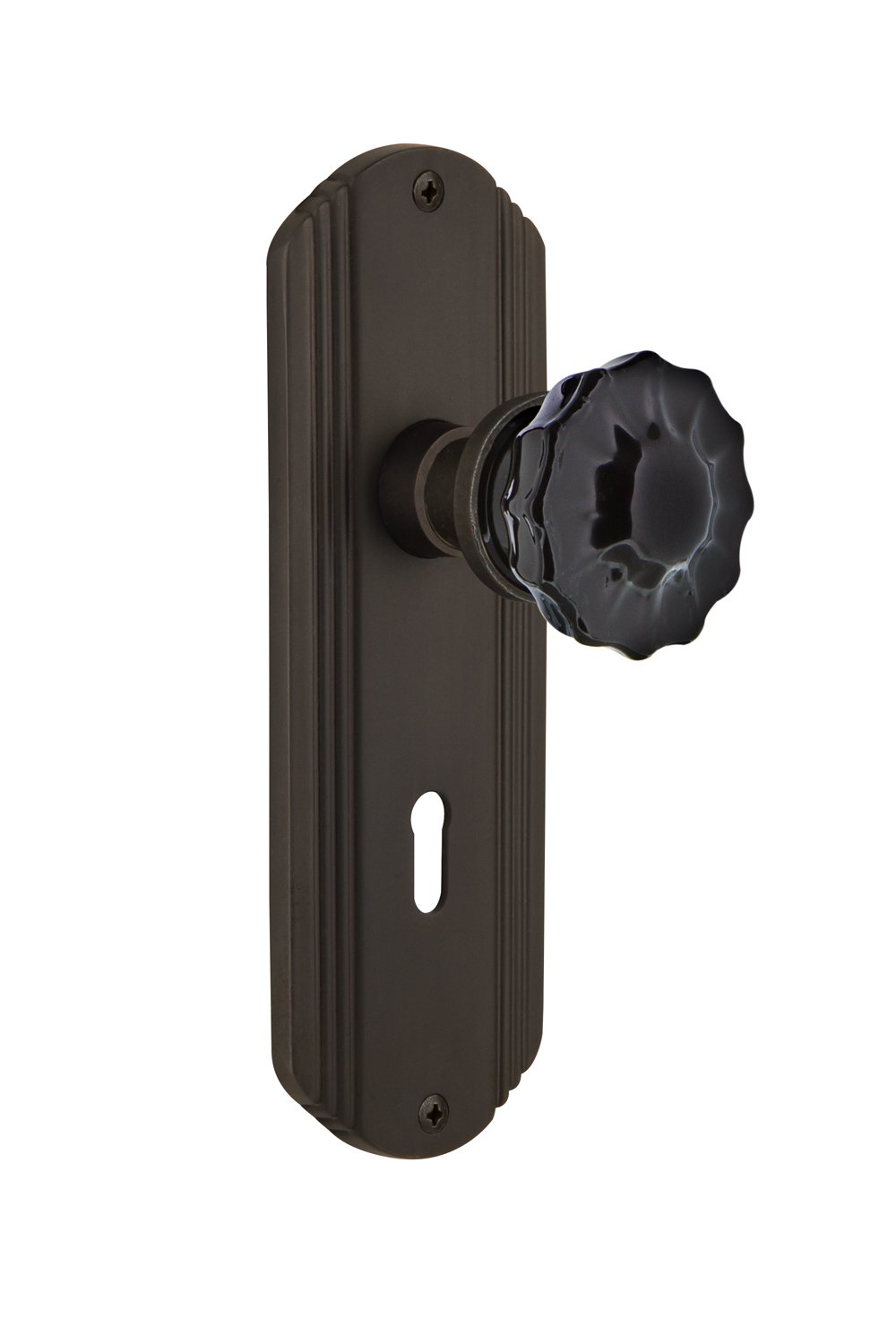 Nostalgic Warehouse 727122 Deco Plate with Keyhole Double Dummy Crystal Black Glass Door Knob in Antique Brass