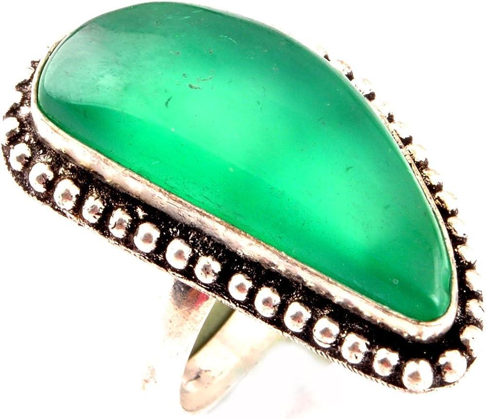 Anillo CALCEDONIA VERDE indie artesanos Natural 925 Tamaño plateado plata piedras preciosas anillo de Reino Unido Anillo para mujer O Tamaño / anillo de la UE 55.25