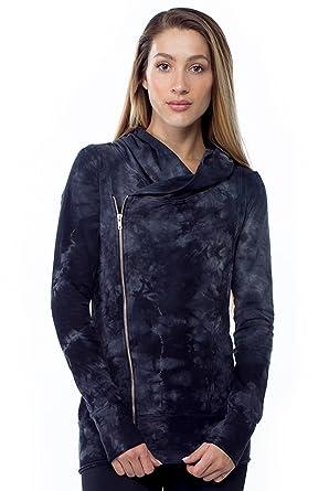 Crystal Wash Asymmetrical Hoodie-Black-Medium (M) Womens Active Pullover Hoodie  Black