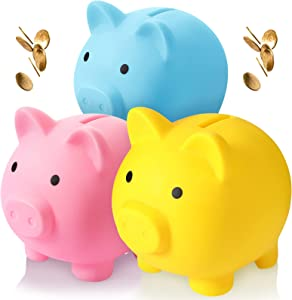 3 Pieces Cute Piggy Bank Plastic Pig Bank Unbreakable Piggy Money Box Coin Savings Pot Pig Money Box Gift for Boys Girls Kids Home Decoration (Yellow, Blue, Pink)