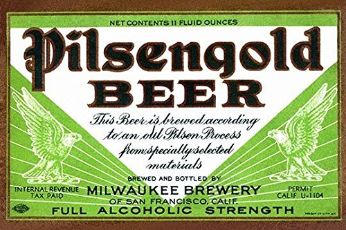 Pilsengold Beer was brewed by the Milwaukee Brewery of San Francisco California during the 1930s Poster Print by Unknown (18 x ()