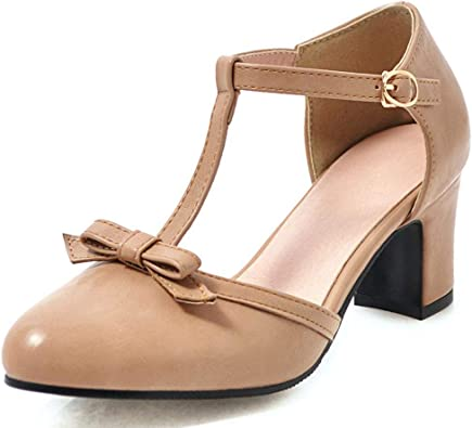 New Women/'s MID HEELS Trendy Sweet Mary Janes Bowknot Strappy Lolita Shoes  Chic