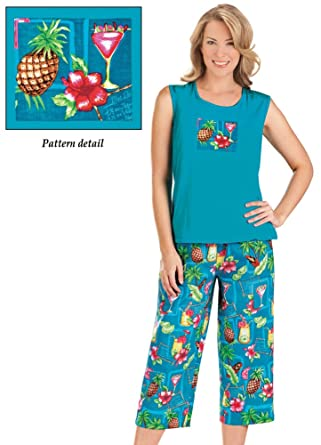 Women s Sleeveless Tropical Tank and Capri Outfit Set at Amazon ... 77cb7924d