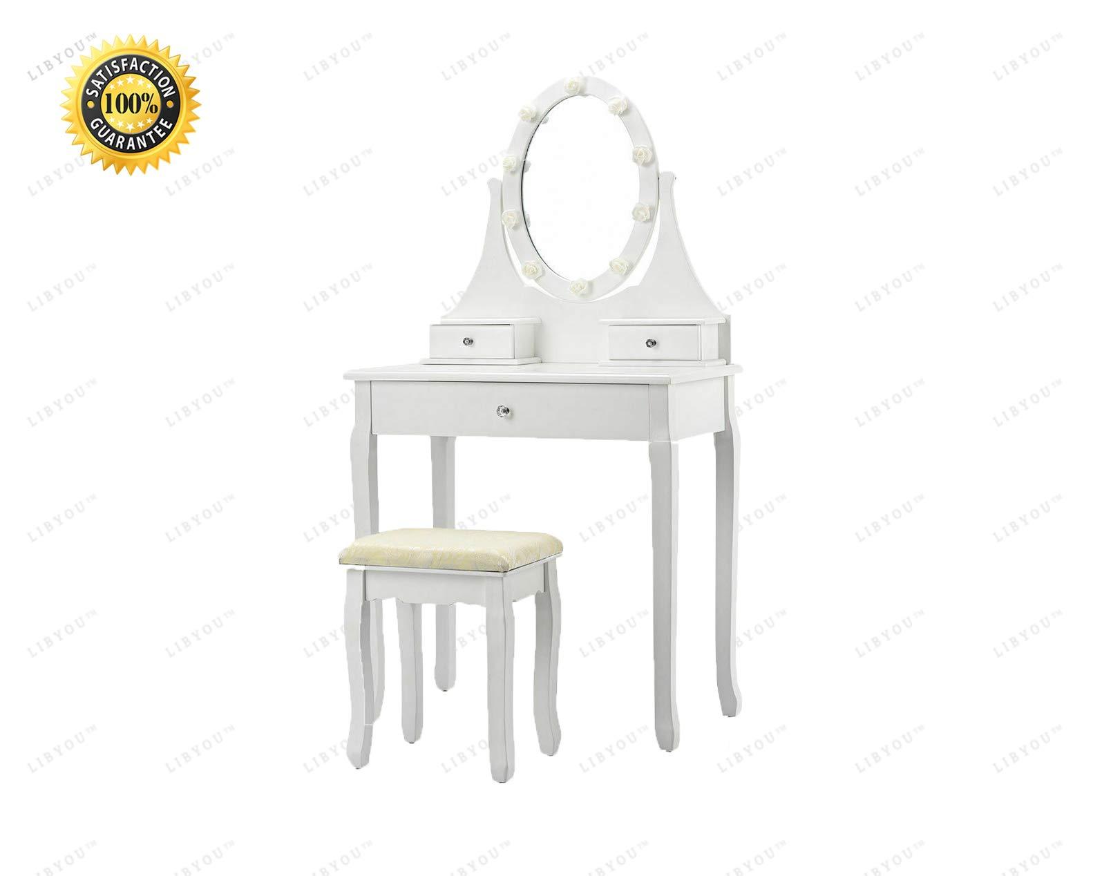 LIBYOU__Dressing Table,Drawers Vanity Makeup Dressing Table,Stool Table Desk,Makeup Table with Mirror,Vanity Makeup Desk,Dressing Table Stool Set,Dressing Table Stool Set,Jewelry Desk