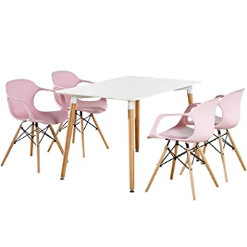 P N Homewares Alecia Dining Set White Table Pink Chairs