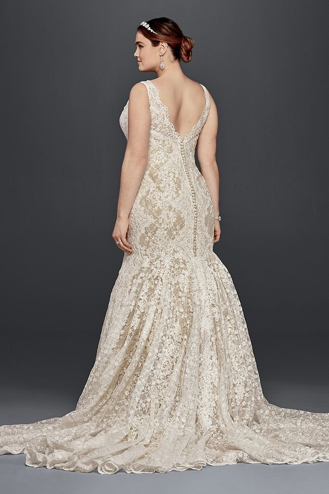 Oleg Cassini Plus Size Lace Trumpet Wedding Dress Style ...