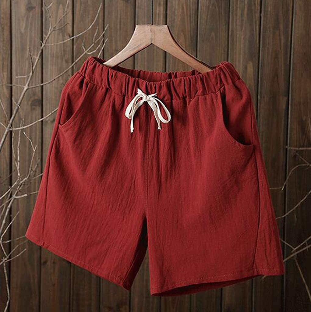 TOTOD Women Short Pants Casual Cotton Linen Crop Pants Elastic Waist Summer Comfortable Home Knickers