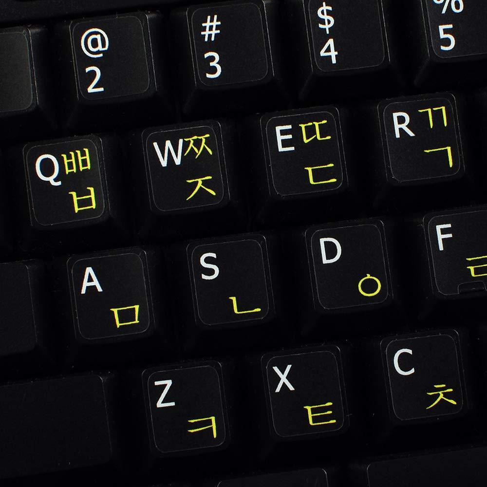 Korean-English Non-Transparent Keyboard Sticker ON Black Background for  Desktop, Laptop and Notebook
