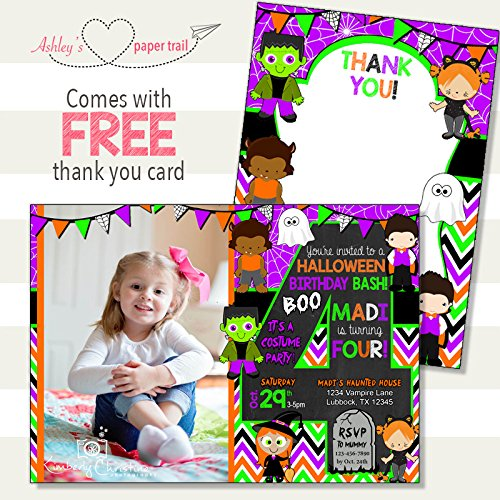Halloween Costume Party Birthday Invitation - Digital File or Prints (Halloween Flat Paper)