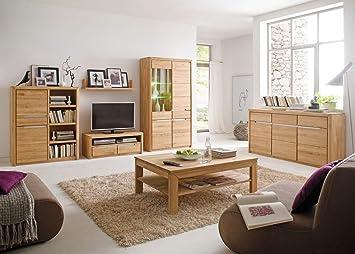 expendio wohnzimmer pisa 43 eiche bianco massiv 6 teilig wohnwand couchtisch sideboard wohnmobel