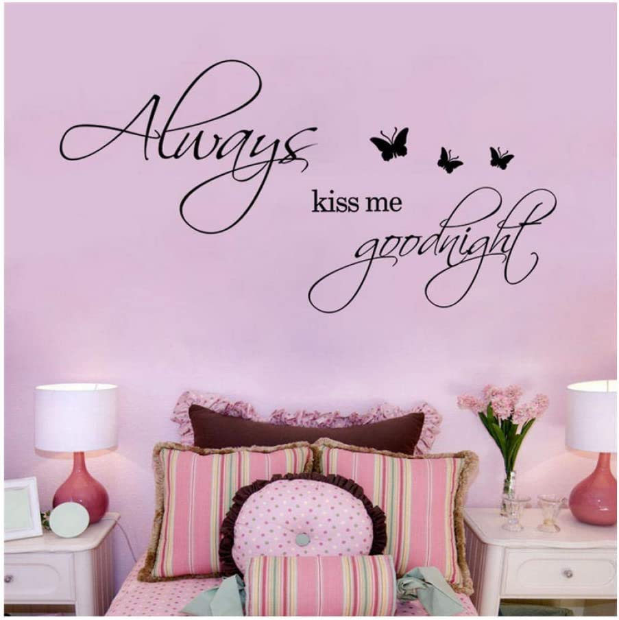 iofjs Always Kiss Me Goodnight Quotes Wall Stickers for Bedroom Decor Home Decoration DIY Vinyl Decals Mural Art Black 60 30Cm