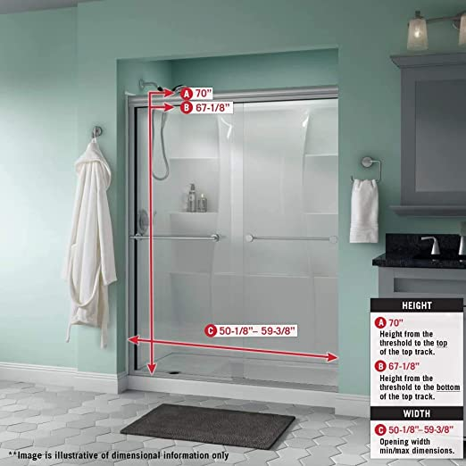 Delta Shower Doors Sd3172329 Windemere 60 X 70 Semi Frameless Traditional Sliding Shower Door In Bronze With Transition Glass