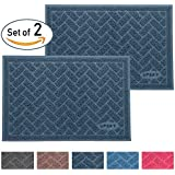 UPSKY Premium Cat Litter Mat Trapper, Traps Litter from Box and Paws, Scatter Control for Litter Box, Soft on Sensitive Kitty Paws, Easy to Clean, Durable - Set of 2, Sliver Blue