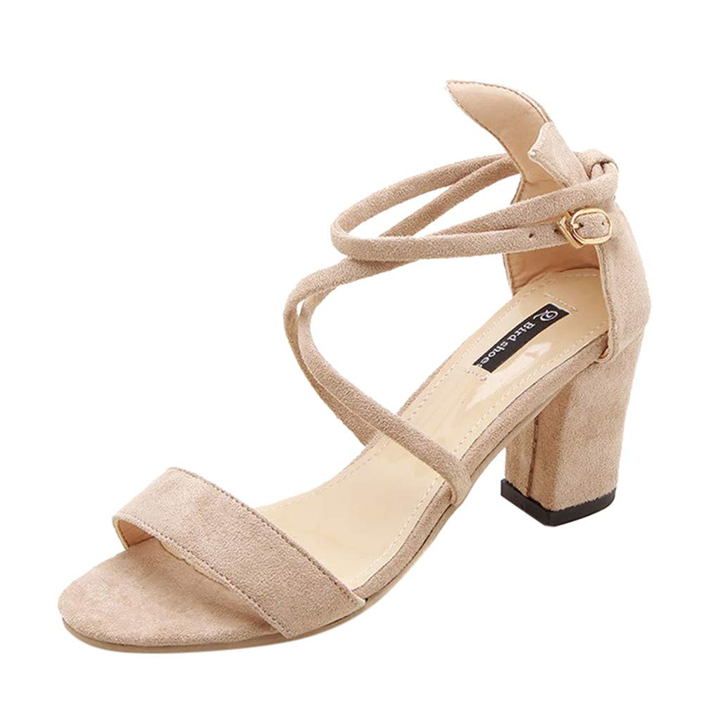 Women's Chunky Heels Sandal Summer Gladiator Open Toe Casual Four Adjustable Buckle Strap Shoes (Beige -3, US:6.0)