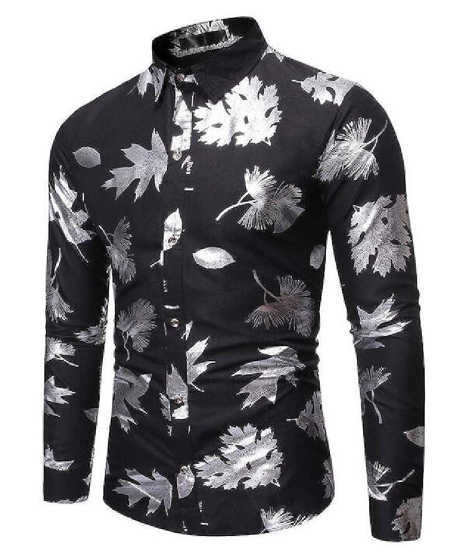 pipigo Men Print Long Sleeve Lapel Formal Slim Fit Button Up Dress Work Shirt