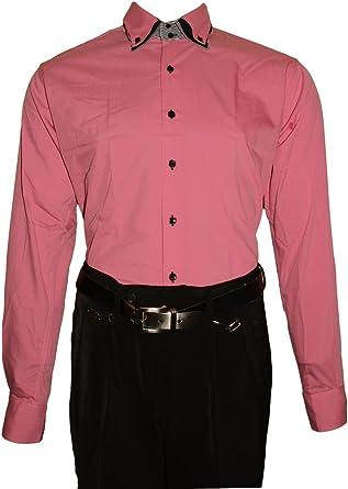 Camisa para Hombre – 3 Slim Fit Entallado Cuello 2 Botón Camisa Manga Larga Estribo Libre Negro Blanco Lila Rosa Rojo Azul Rosa 45: Amazon.es: Ropa y accesorios