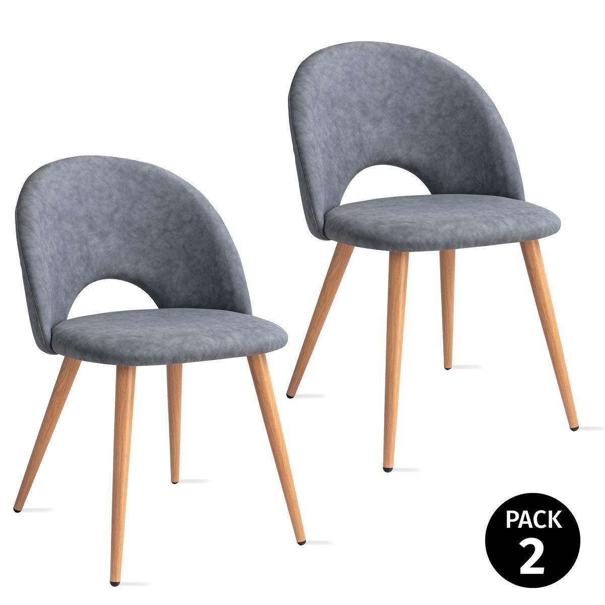 Mc Haus Pack 2 sedie Luna nordico design blu cielo sala pranzo 49x46x76cm
