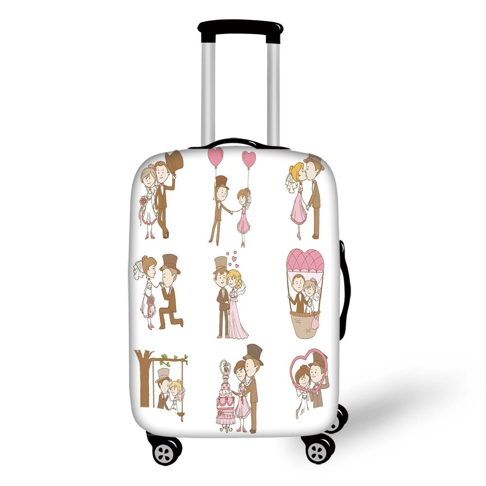 Travel Luggage Cover Suitcase Protector,Wedding Decorations,Wedding Doodle Set Bride and Groom Romantic Retro Style Artwok,Brown Pink White,for Travel