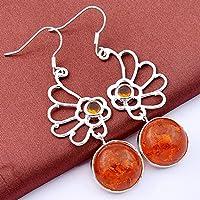 phitak shop 925 Sterling Vintage Silver Plated Golden Amber Honey Brazil Citrine Earrings 2