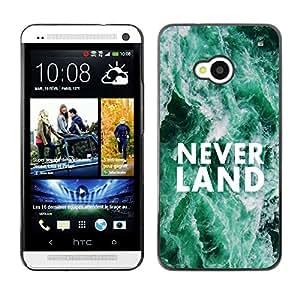 Qstar Arte & diseño plástico duro Fundas Cover Cubre Hard Case Cover para HTC One M7 ( Neverland Dreams Fairytale Quote Hope)