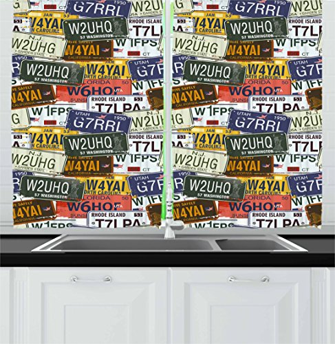 Ambesonne USA Kitchen Curtains, Retro American Auto License Plates Utah Washington Rhode Island North Carolina Print, Window Drapes 2 Panel Set for Kitchen Cafe, 55 W X 39 L Inches, Multicolor