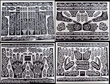Amazon 5 A3 SHEETS Self Adhesive Decal Stencils For Henna Temporary Tattoo Reusable DIY 126 Beauty