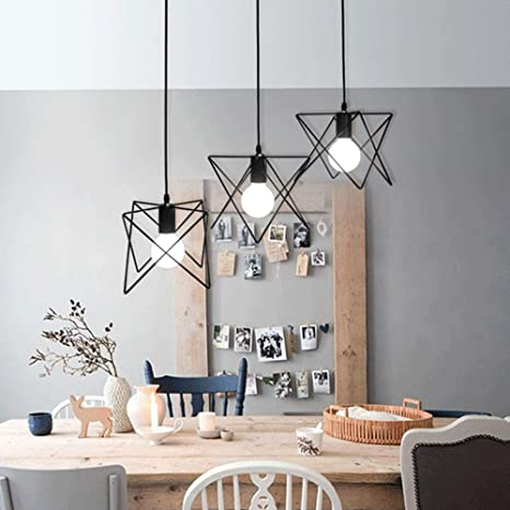 Moderno Moda Luz colgante Creativo Negro Hierro Geometría Diseño ...