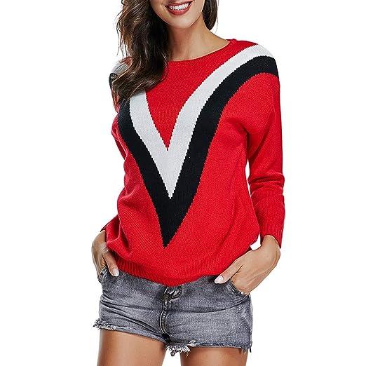 Yuxikong 2019 Women Stripe O-Neck Long Sleeve Knitting Pullover Blouse  Knitwear Sweater Tops ( a411e3ab8