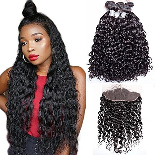 Maxine Hair 10A Malaysian Virgin Hair Bundles with Frontal Water Wave 3 Bundles With 13x4 Lace Frontal Closure Wet And Wavy Virgin Human Hair Weave Natural(14 16 18+12 Frontal)