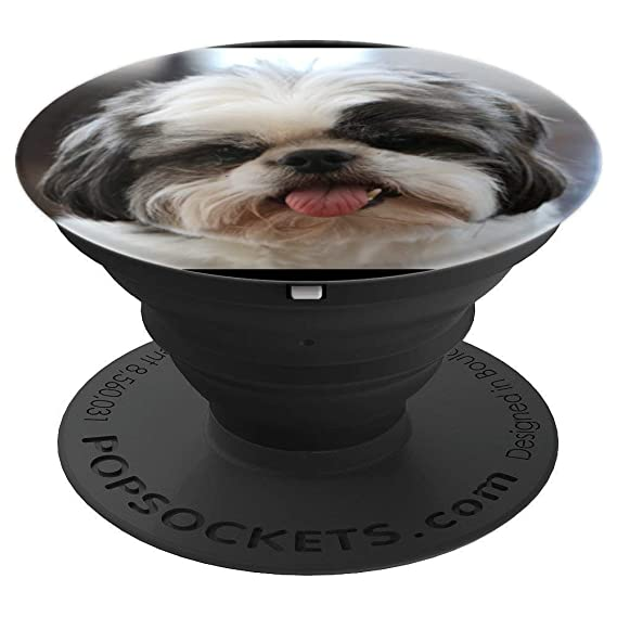 Amazoncom Shih Tzu Puppy Dog Black White And Grey With Tongue Out