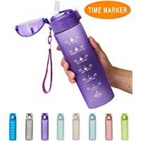 Allfourior 24oz Water Bottle with Time Marker & Straw – Leak Proof BPA Free Motivational...