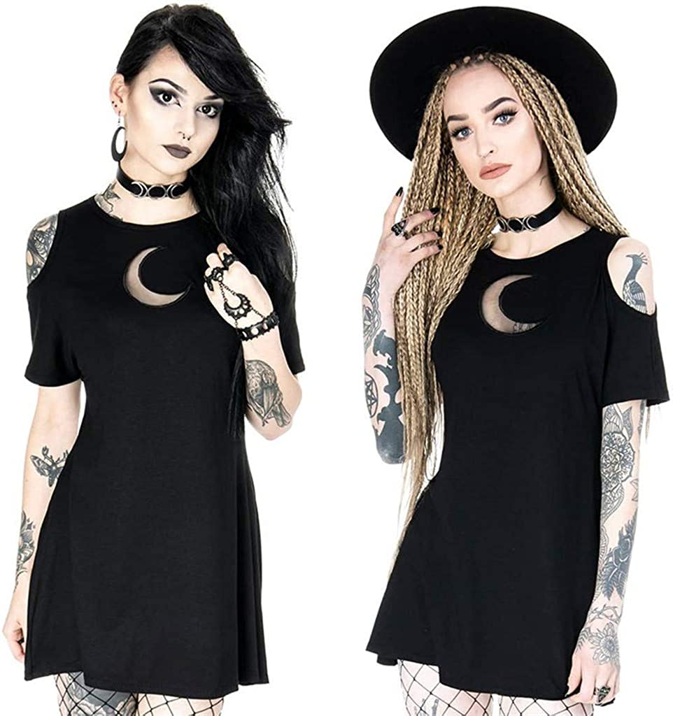 Womens Gothic Style Punk Dress Vintage Off Shoulder Moon Hollow Out Short Sleeve T-Shirt Dresses