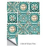 10PCS Modern Tile Stickers Italy Ceramic Tile Stickers Waterproof for Bedroom Living Room Bathroom Decoration,8x8 inch