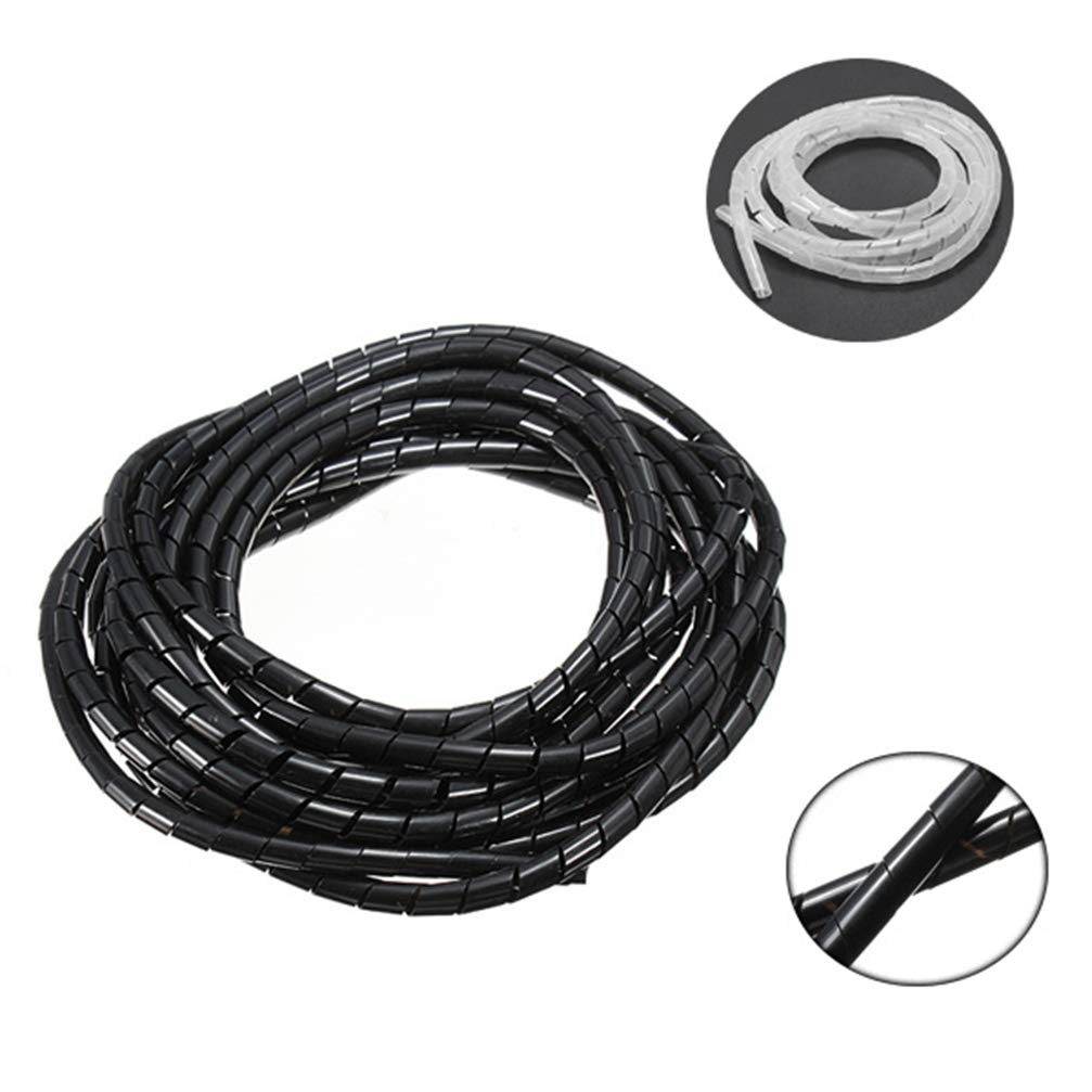 5M Black/White Spiral Wrapping Wire Organizer Sheath Tube Flexible Manage Cord 6mm Wire Cable Sleeves for PC Computer Home
